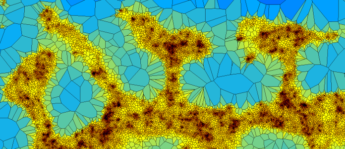 Density map of a neuron extracted from the Voronoï diagram